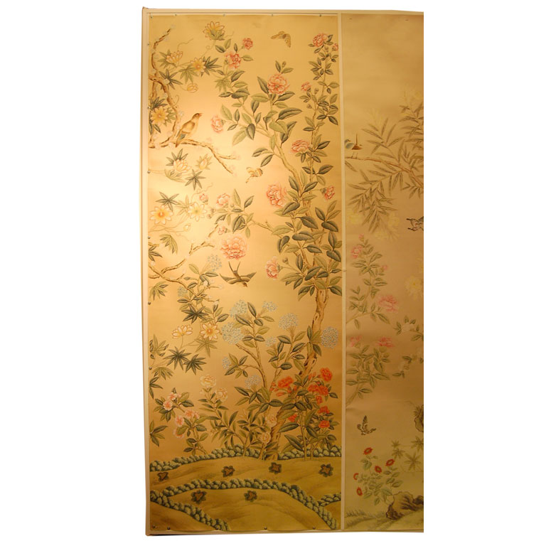 chinoiserie chic framed chinoiserie wallpaper panels. Black Bedroom Furniture Sets. Home Design Ideas