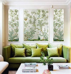 Chinoiserie chic framed chinoiserie wall panels in rooms for Wallpaper designs for living room green