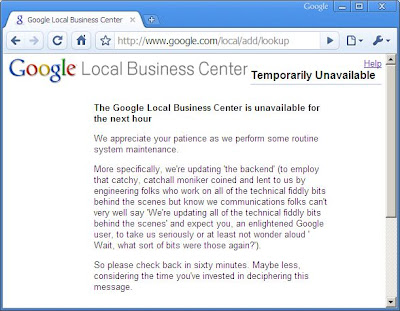 Google's Local Business Center is Temporarily Unavailable
