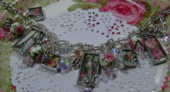 Cottage Rose Charm Bracelet  ~ SOLD~