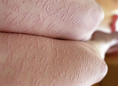 Woman's Paper Skin a Walking Notepad