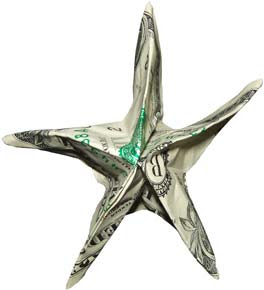 Starfish money sculptures created by dollar