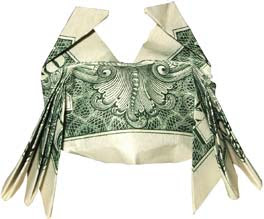 Crab money sculptures created by dollar