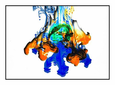 Ink in water to create a sense of colour, paint and movement.