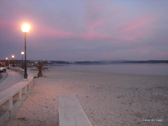 Foz do Arelho coastal avenue and the Beach at sunset