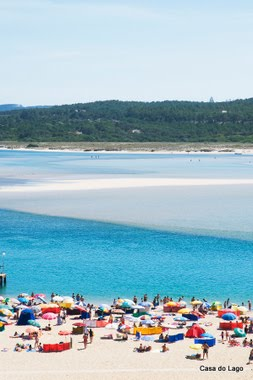 Sandbanks and beaches in Obidos lagoon, viewed from Foz do Arelho
