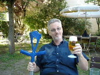 Me, beergarden, Bad Abbach, post-op, late July.