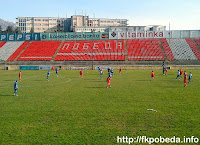 Moment from the match Pobeda-Rabotnicki