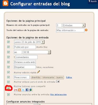 Botones para compartir en Blogger