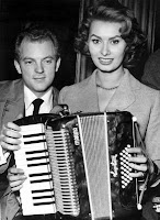 Sophia Loren on accordion