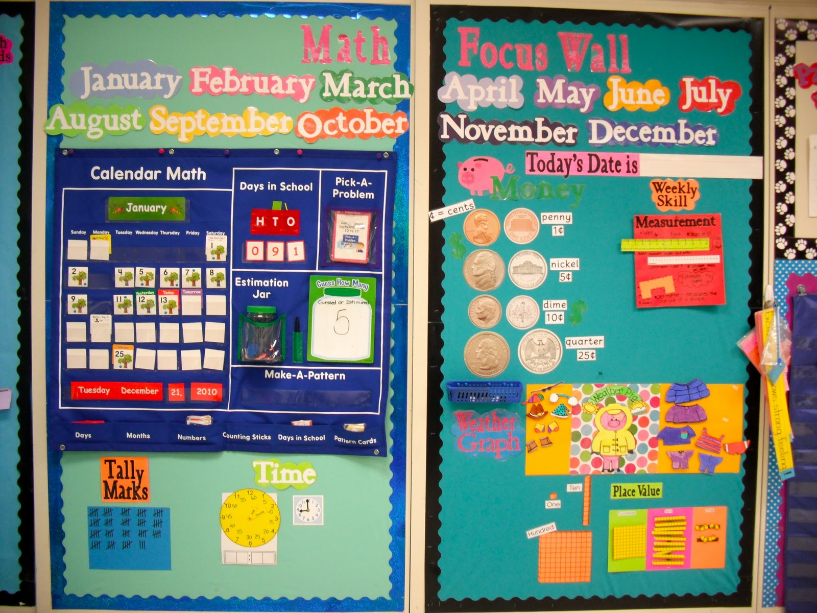 Math Focus Wall http://firstgradefresh.blogspot.com/2011/02/math-focus-wall-and-my-new-obession.html