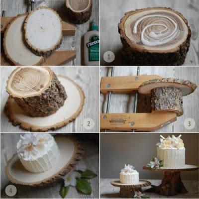 fabricar un pedestal de torta de novios rustico