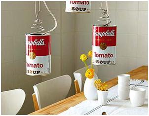 Lámparas hechas a partir del reciclaje de latas