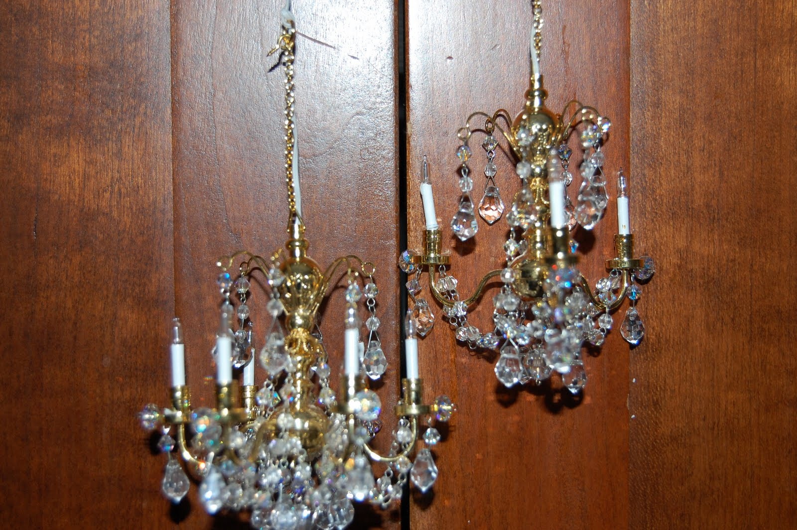 Dreaming of paris crystal chandelier have arrived i think these are the loveliest dollhouse chandeliers i bought a 6 arm chandelier and a 3 arm chandelier for my soon to be french dollhouse aloadofball Choice Image