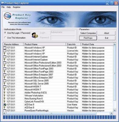 Product Key Explorer v2.2.6.0 (portable) Product Key Explorer - Encontre mais de 500 produto popular software chaves de imediato! Product Key Explorer apresenta produtos essenciais para o Windows, MS Office, SQL Server e mais de 500 produtos popular software instalado em sua rede local ou remoto computadores.