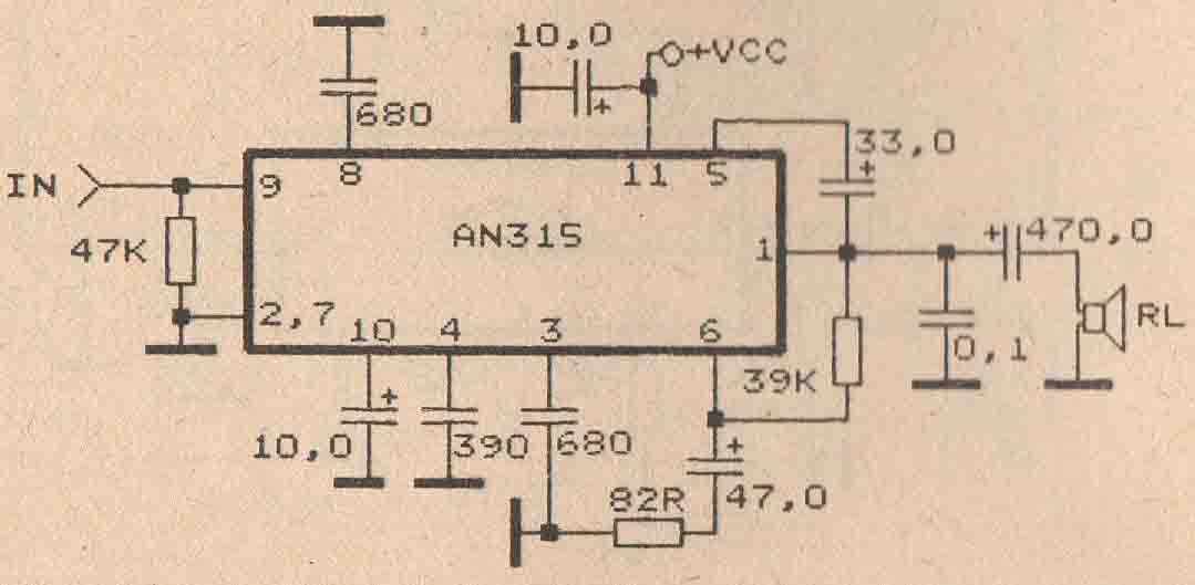 schematic audio amplifer with ic an315 subwoofer bass amplifier