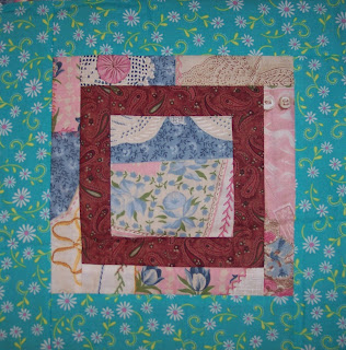 Turquoise Fabric made in to a My Quilt Log Cabin Quilt Pattern
