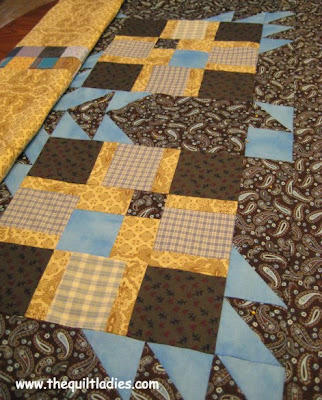 Baby Boy Quilt in Blue, Yellow and Brown