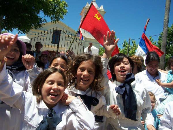 Escolares en un día de fiesta