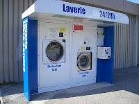 An open-air laundromat