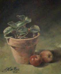 Vaso e duas maçãs
