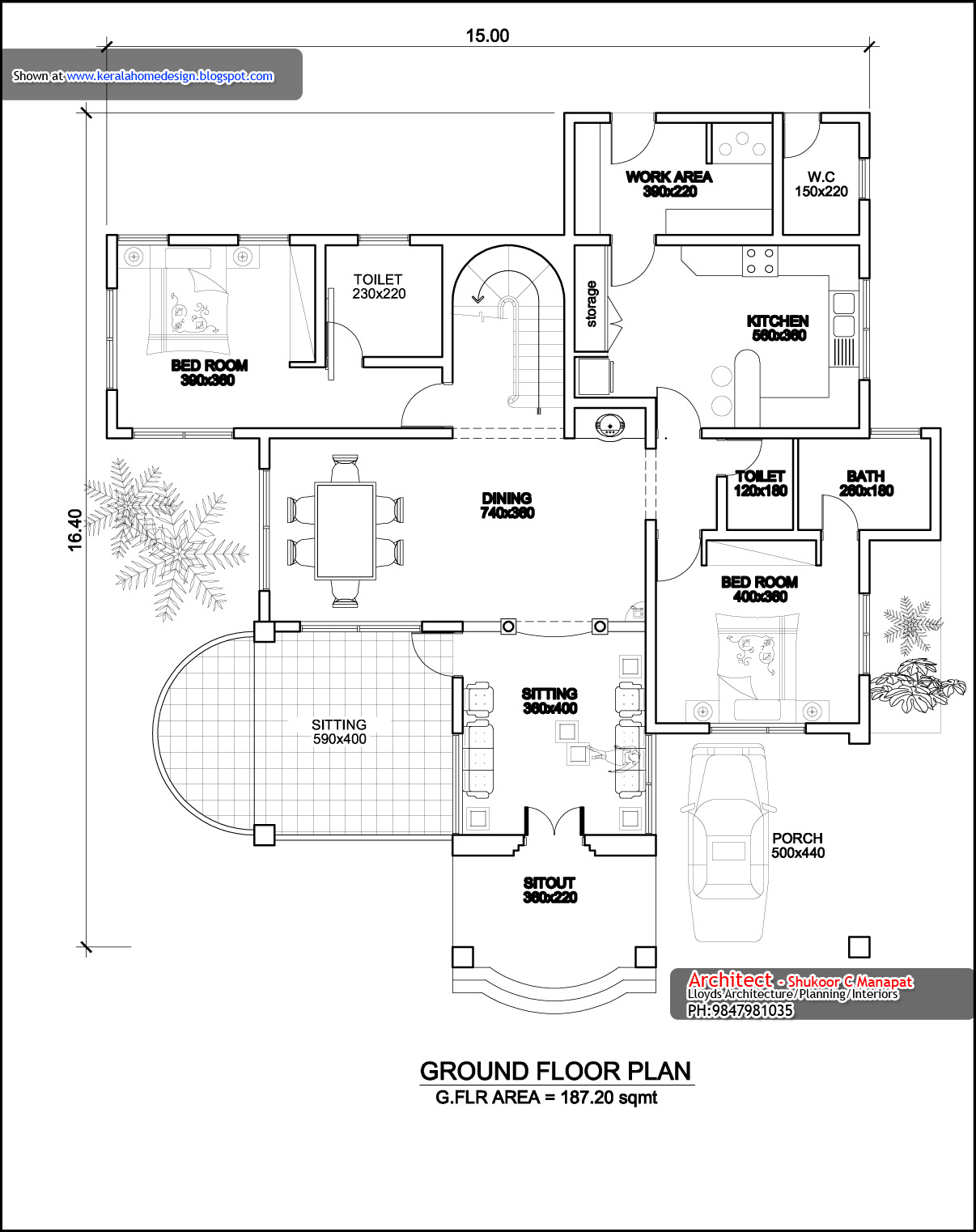 Kerala home plan elevation and floor plan 3236 sq ft Ground floor 3 bedroom plans