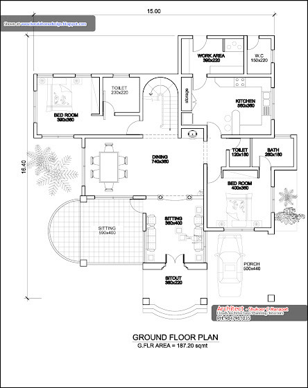 3000 sq ft. house - ground floor plan in Kerala