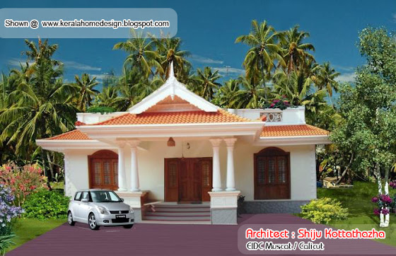 Kerala style single floor house plan - 1155 Sq. Ft.