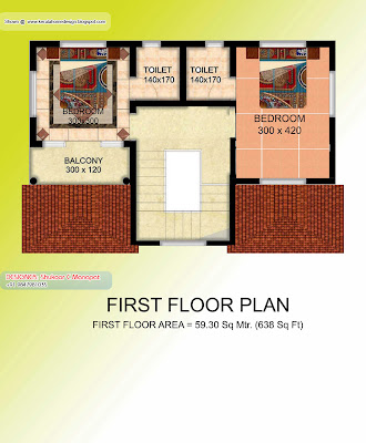 Kerala villa plan and elevation - 1369 Sq. Feet - Fiid=