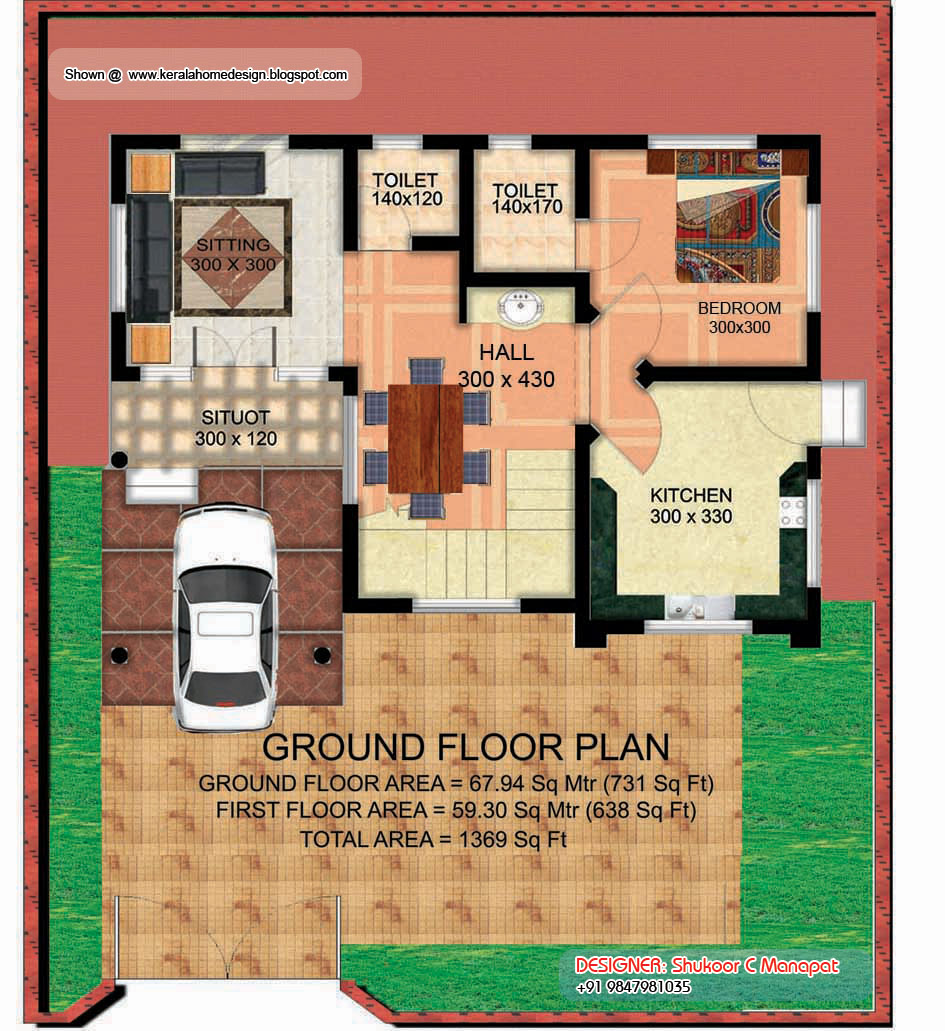 Kerala villa plan and elevation 1369 sq feet home for Ground floor 3d elevation