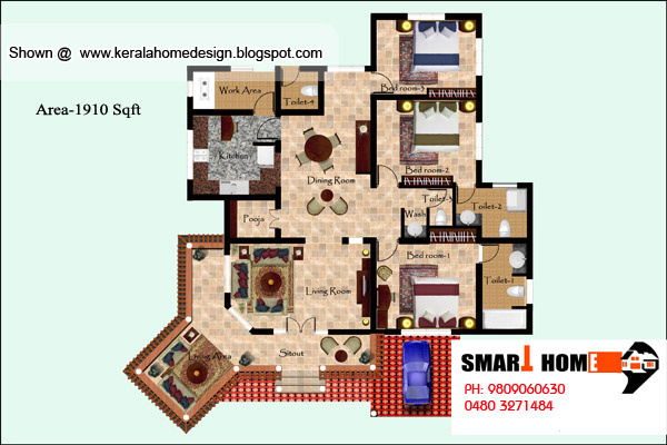 3 bedroom house plans in kerala. Kerala Home plan and elevation