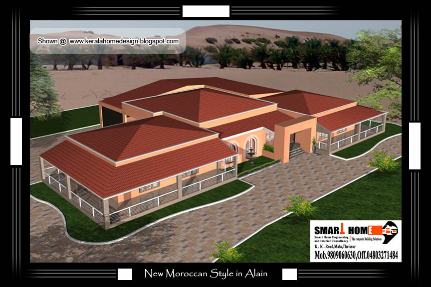 Moroccan style home plan and elevation 9806 sq ft for Moroccan style homes