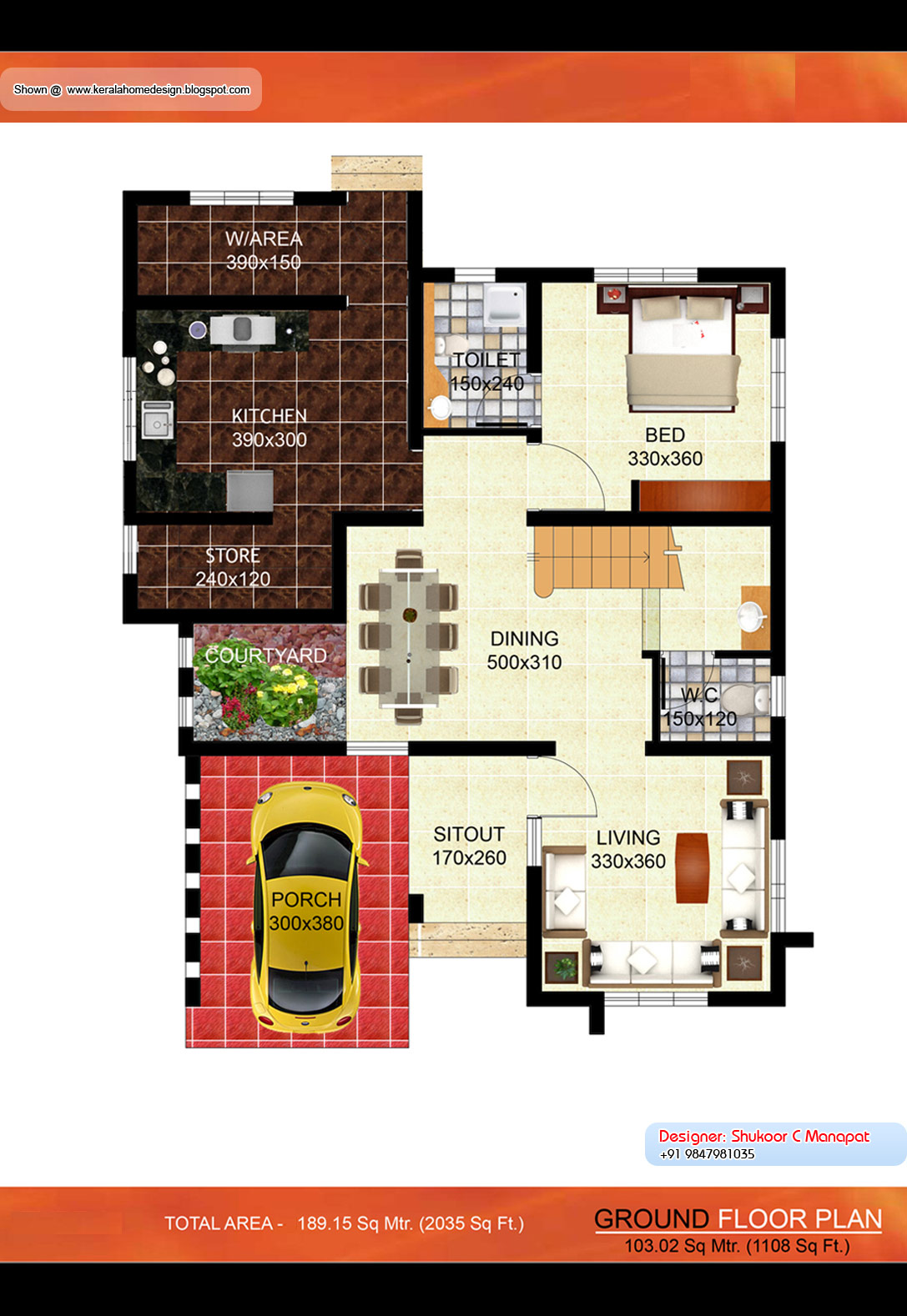 Kerala villa plan 2035 sq ft kerala home design and for Villa designs and floor plans