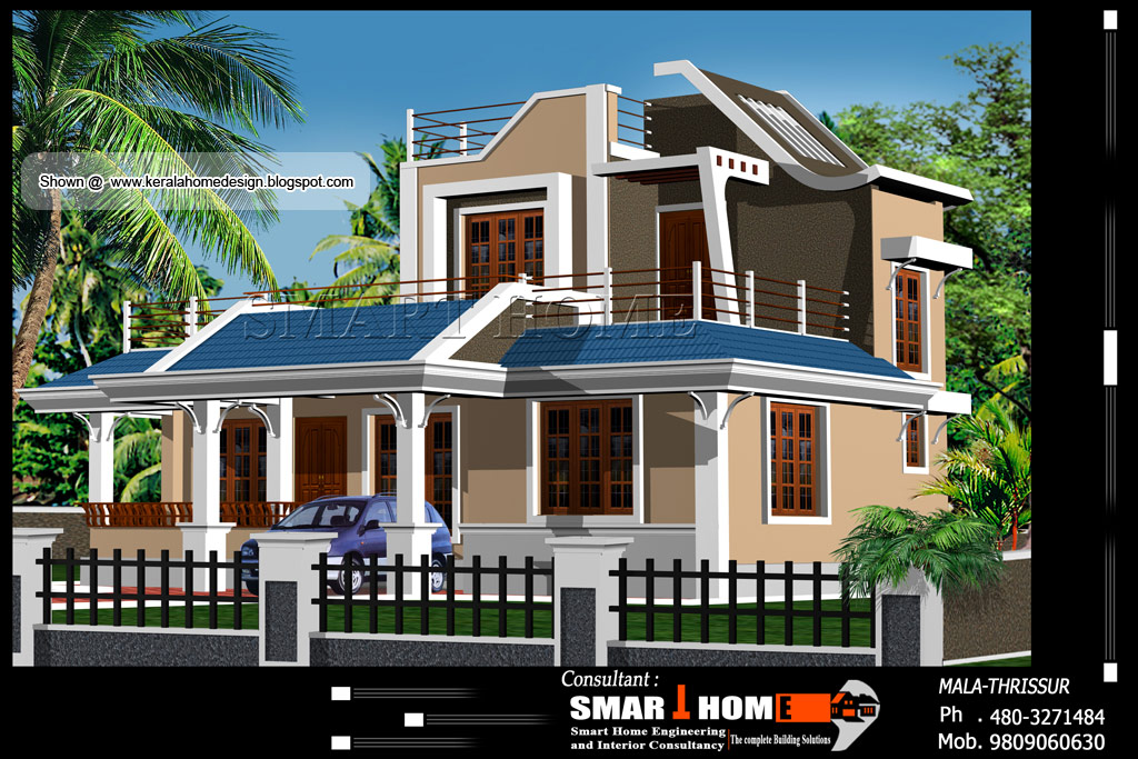 Home plan and elevation 1610 sq ft kerala home for Ground floor 3d elevation