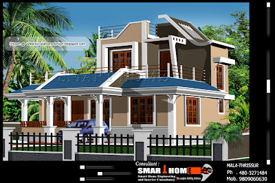 Home plan and elevation - 1610 Square Feet.