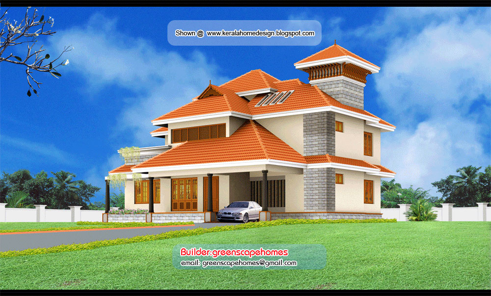 Beautiful kerala villa elevation kerala home for Villa front elevation photos kerala