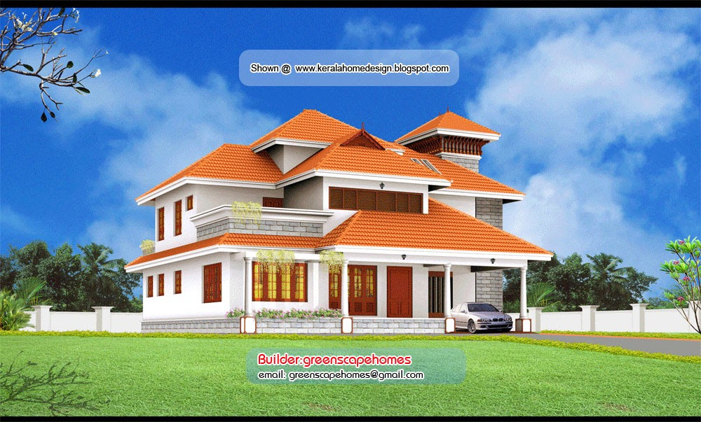 Beautiful kerala villa elevation kerala home design and for Kerala style villa plans