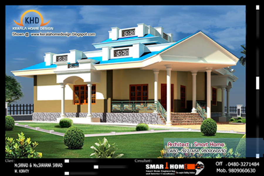 Single Floor House Plan and Elevation - 1680 Sq. ft