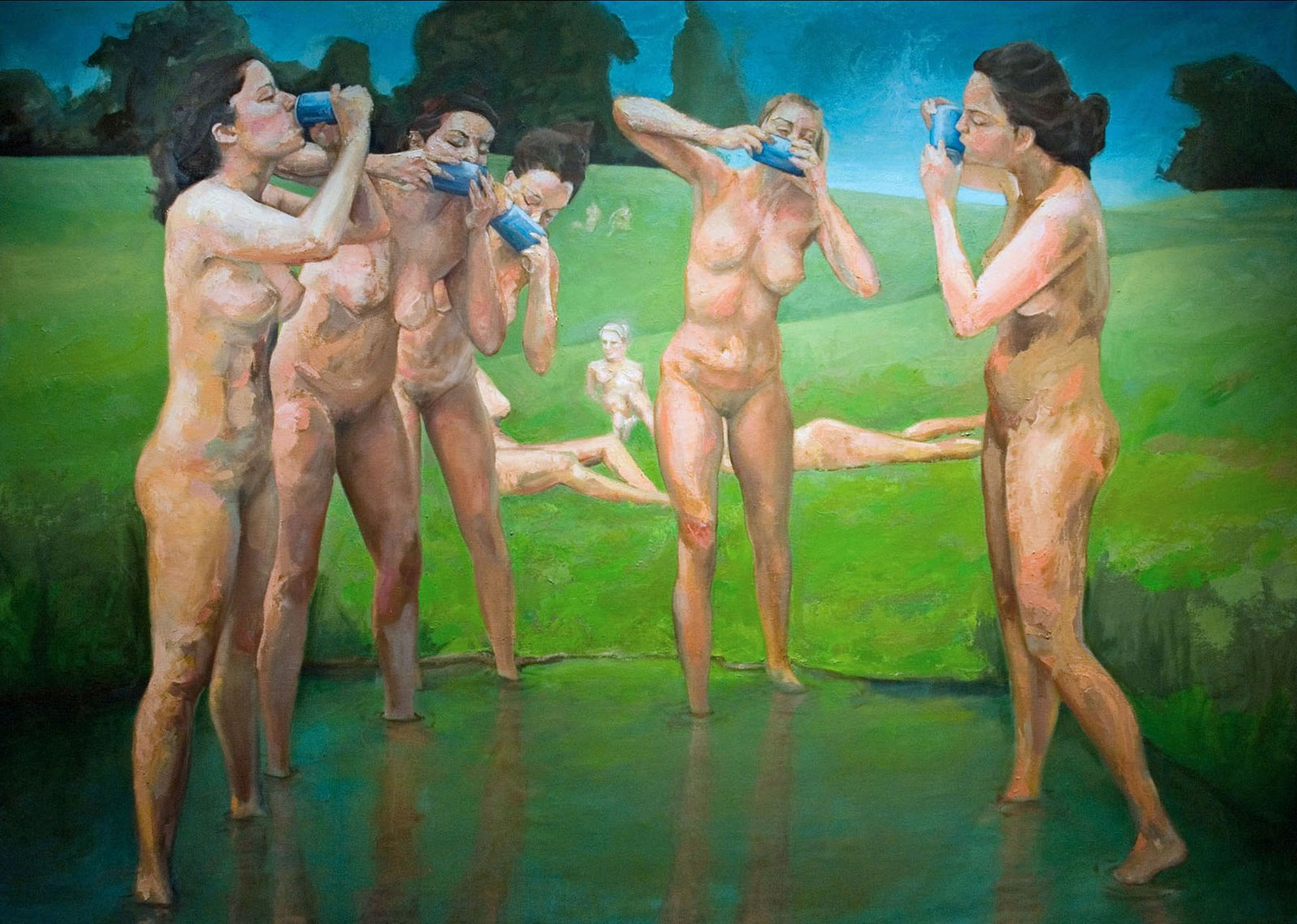 "Joel Parker, ""the Bathers"", 2008, 86"" x 120"", Oil on Panel."