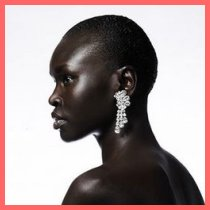 Alek Wek with a shaved head
