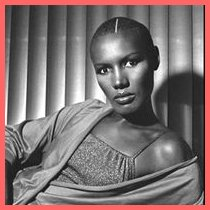 Grace Jones with a shaved head