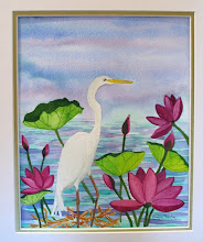 Egret and Red Lillies