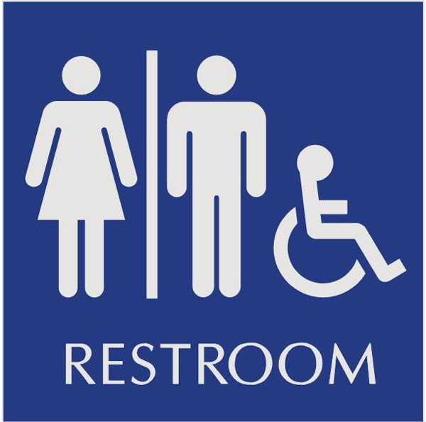 Printable signs handicapped restroom just b cause for Unisex handicap bathroom sign