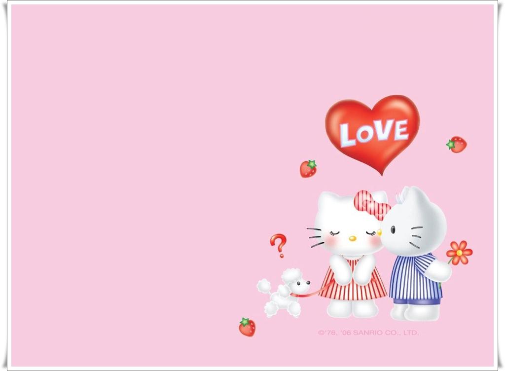 Hello Kity Pink Love Wallpaper