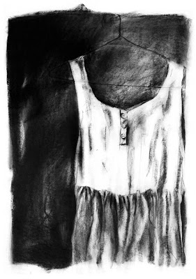 dress,charcoal drawing,original