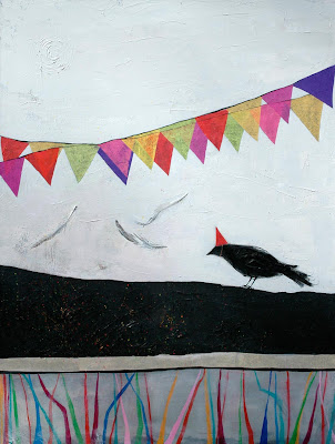 black bird party painting art canvas