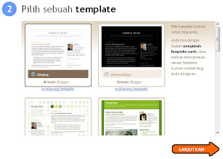 Membuat blog dengan Blogger template selections