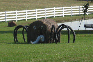 Big round hay bale laid on its side with spider legs on either side, huge black eyes on the end and the legs of a dummy sticking out of a hole in the bale that looks like a mouth