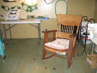 an old wood rocking chair that needs refinishing
