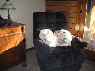 dark blue upholstered rocking recliner